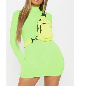 Green Neon Roll Neck Bodycon Dress. NWT. From PLT